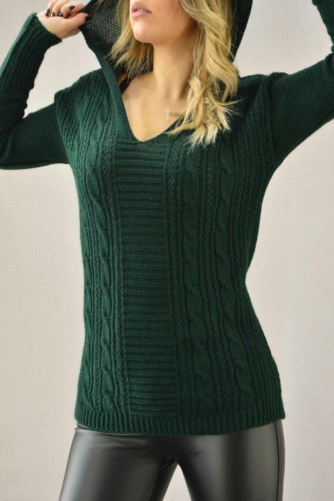 Γυναικείο πουλόβερ με κουκούλα PLEK-2709-gr  Πλεκτά > Πλεκτά και ζακέτες