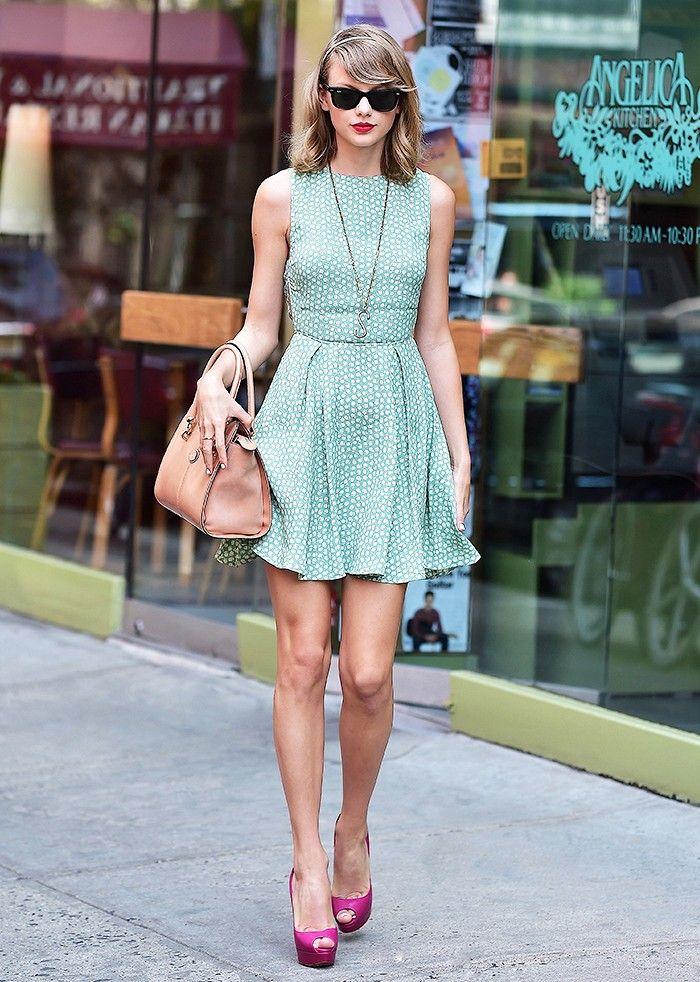 Taylor Swift green polka dot dress