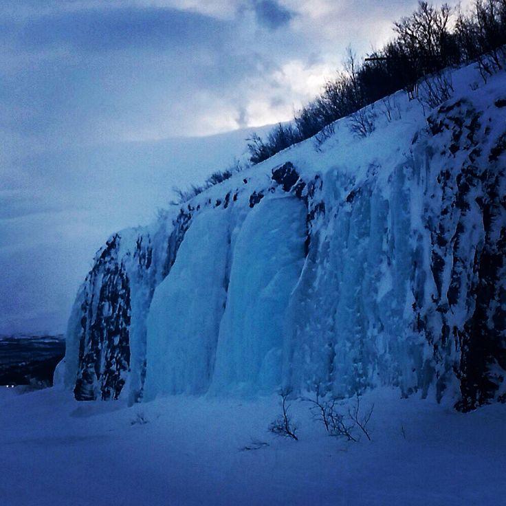 Pared helada, Laponia. Norte de Suecia.