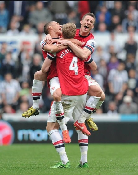 Kieran Gibbs and the BFG celebrates the only goal by Laurent Koscielny. Newcastle United 0-1 Arsenal (May 2013) by Stuart MacFarlane