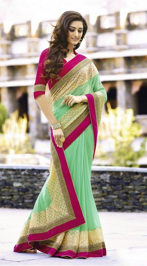 beautiful-sea-green-designer-saree-with-velvet-rani-pink-border