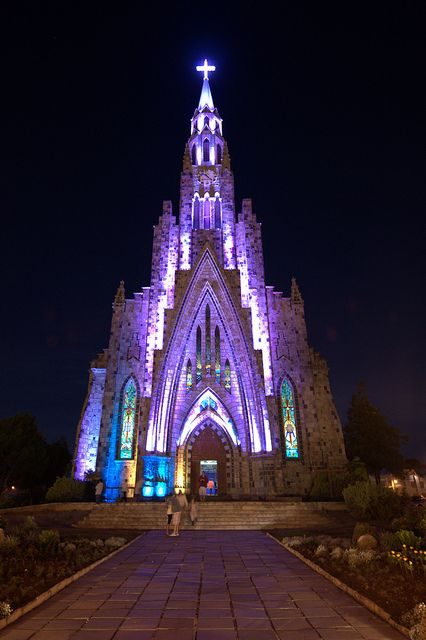 Nossa Senhora de Lourdes Cathedral glowing in the night, Canela, Brazil (by hoeper).