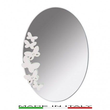BUTTERFLY - Specchio ovale, lavorato al laser con struttura in vetro e metallo verniciato.