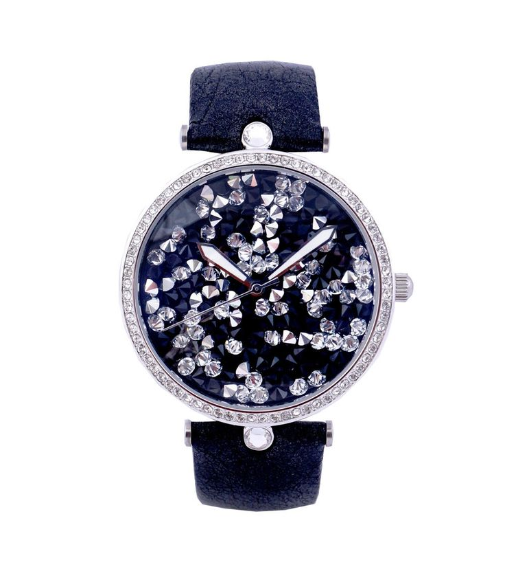 #Silver & #Black Swarovski #Studded #Women #Watch by #Jaipur #Watch #Company at #Indianroots