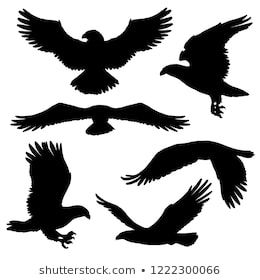 flying eagle falcon and hawk black silhouette bird icons