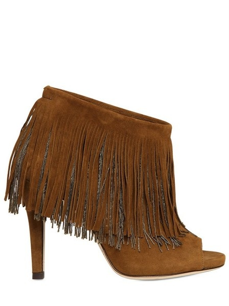 Jimmy Choo ~ Daxen Suede Fringed Open Toe Boots