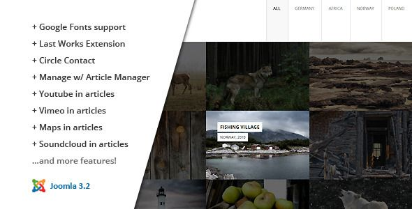 This template is a responsive and retina-ready HTML5 Joomla Template with grid system layout. Mobile Touch optimized.   Joomla 3.2 support! Use the quickstart package for an easy installation.  Fea...