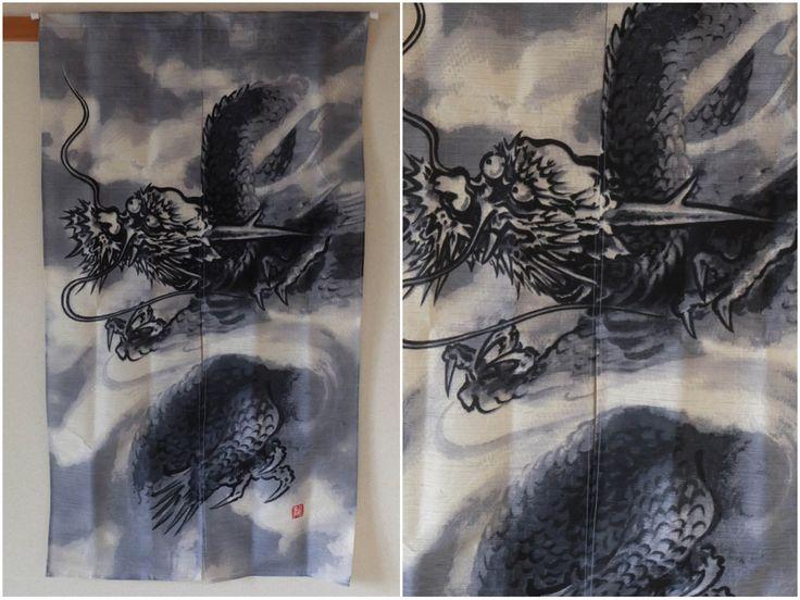 Japan Japanese Dragon Ryu Edo Nihonga A la Soga Shohaku Style Noren Curtain - Japan Lover Me Store