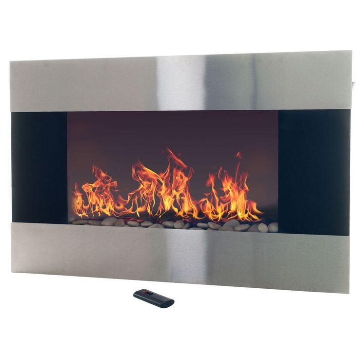 Stainless Steel Electric Fireplace with Wall Mount and Remote in Silver - 25+ Best Ideas About Wall Mount Electric Fireplace On Pinterest