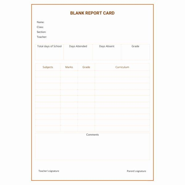 Blank Report Card Template Unique 12 Report Card Template 6 Free Word Excel Pdf Free Business Card Templates Report Card Template Business Card Template Design
