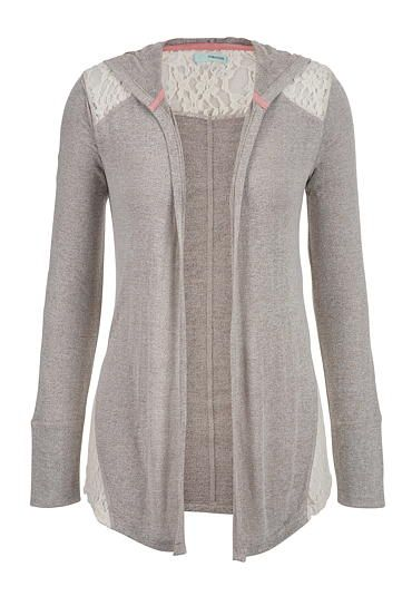lightweight hooded cardigan with lace (original price, $32) available at #Maurices