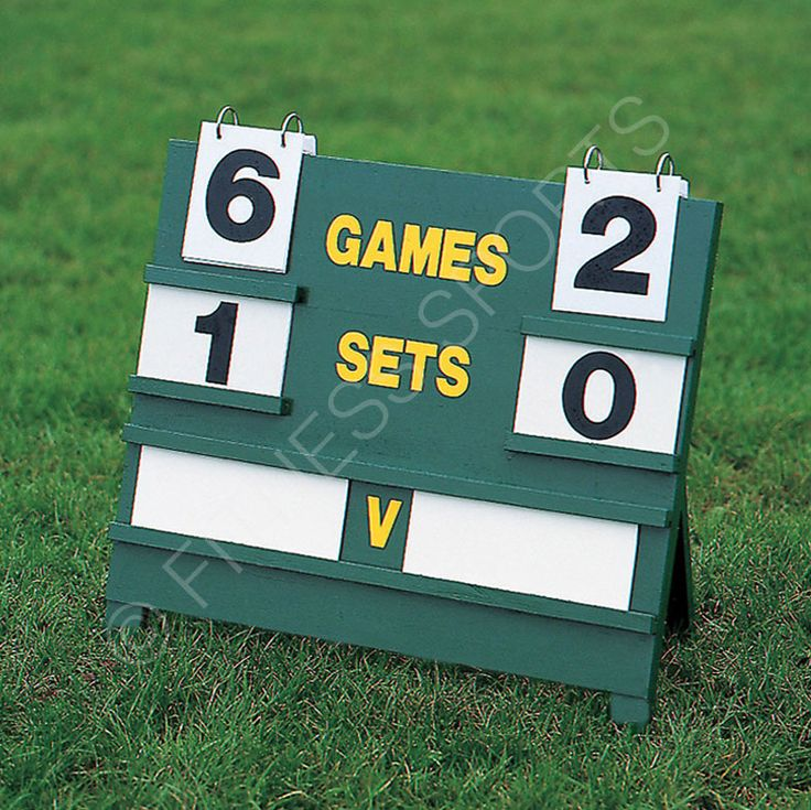 Robust freestanding wooden tennis scoreboard with a 64cm x 56cm display for outdoor match use and small enough to fold away and carry. Complete with flip over game numbers, set numbers, name cards and marker pen. Showerproof. Spare numbers available.