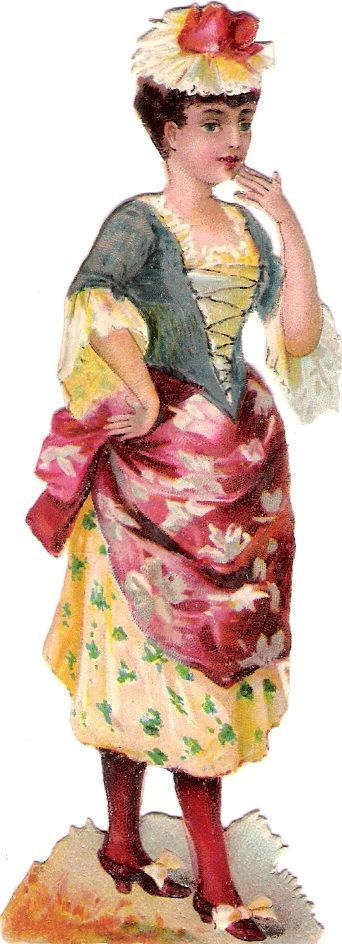 Oblaten Glanzbild scrap die cut chromo lady  12cm Kind child Dame Hut hat girl