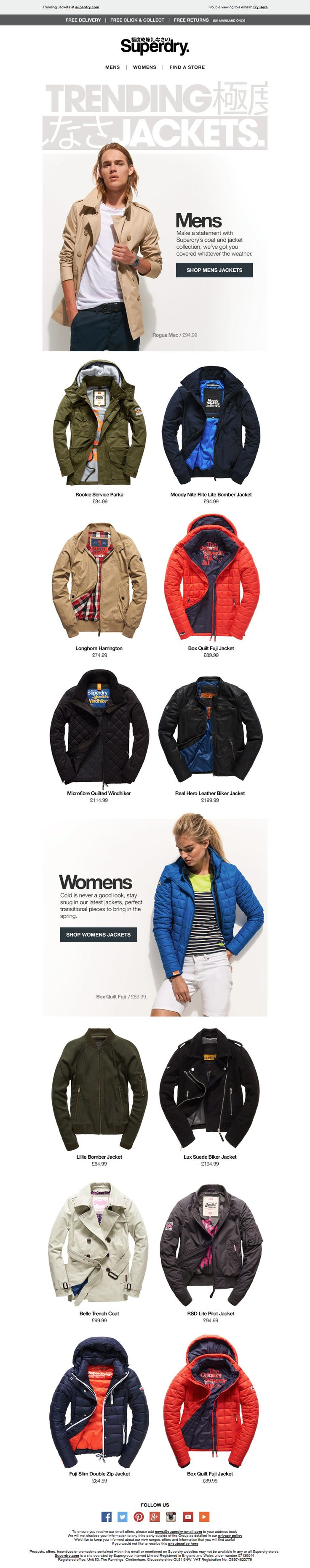Superdry Trending Jackets Email / Newsletter Design
