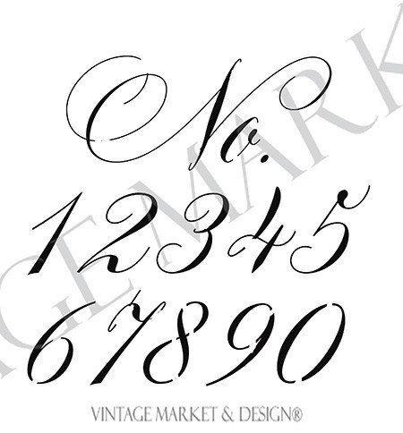 Numero Script Stencil di VintageMarketDesign su Etsy