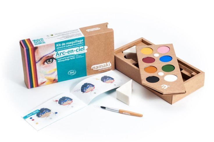 kit de maquillage bio Namaki 8 couleurs Arc-en-ciel, sur Doux Good, cosmétiques naturels et bio