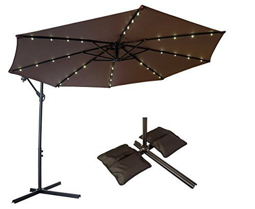 10u0027 Offset Patio Umbrella With LED Lights (Dark Brown) And Saddlebag Style  Sand