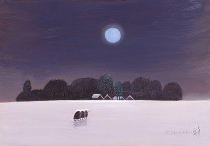 斎藤真一 越後瞽女日記「冬の月」油彩  1974年
