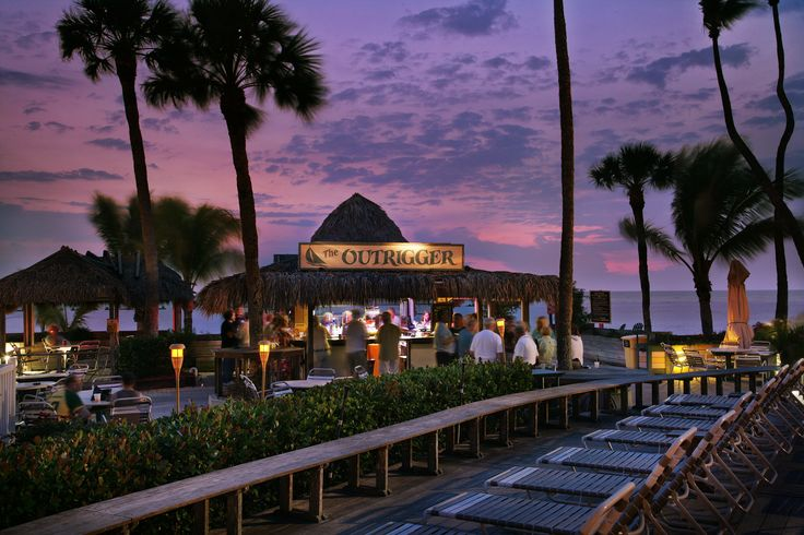 Sunset at the Tiki Bar, The Outrigger Beach Resort, Ft. Myers Beach, Florida.