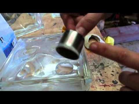 Glass block cutting hole, frosting the cheap safe way and adding vinyl Jen Blausey - YouTube