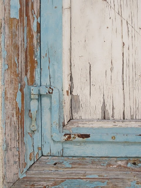 blue and white peeling paint