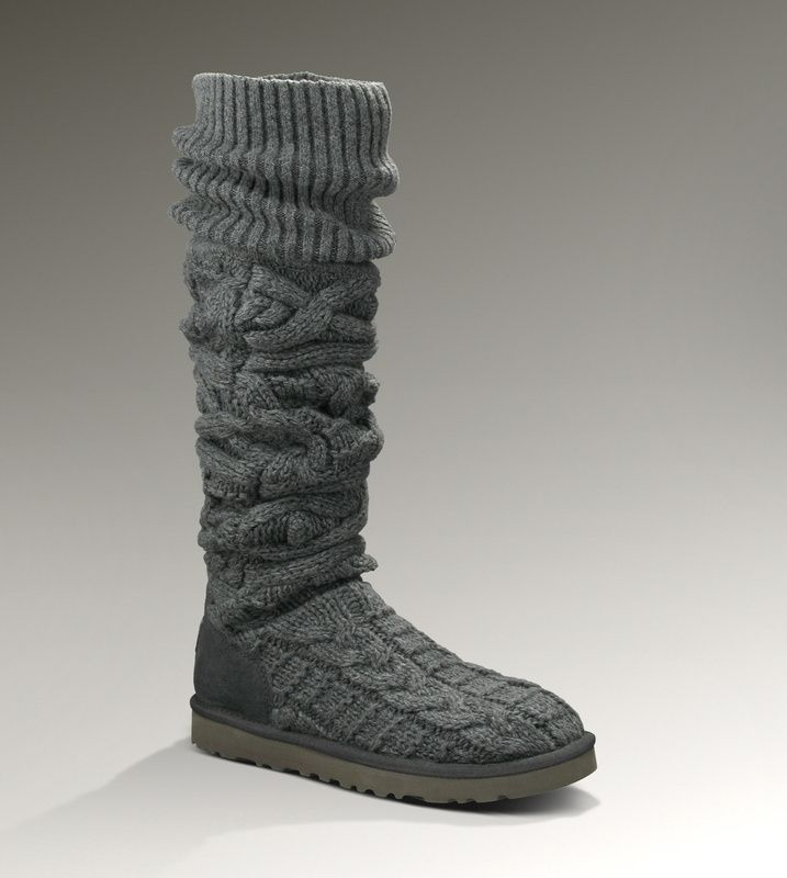 UGG Boots – Over Knee Twisted Cable – Grey – 3174