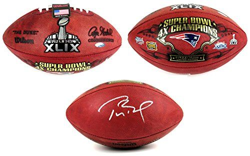 Tom Brady Autographed/Signed New England Patriots Wilson Authentic Super Bowl XLIX 4x Champions Commemorative NFL Football – Tristar