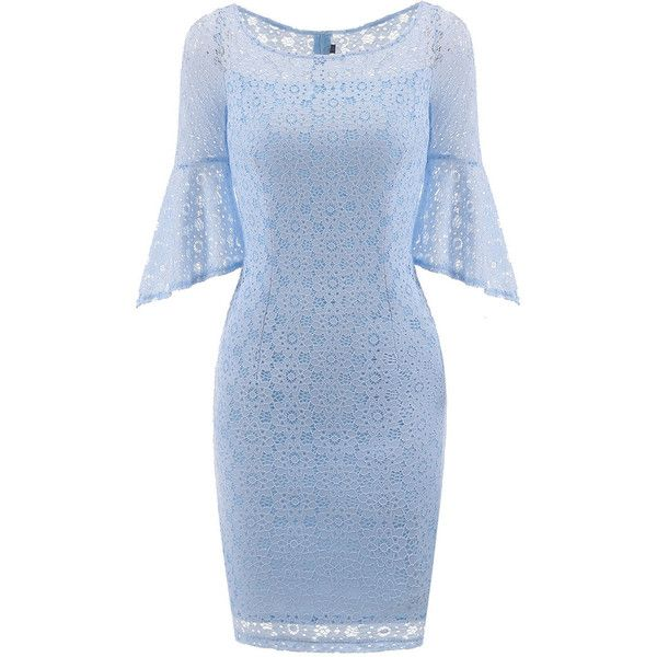 Hollow Out Plain Lace Bell Sleeve Bodycon Dress ($41) ❤ liked on Polyvore featuring dresses, lace bodycon dresses, blue bodycon dress, 3 4 sleeve bodycon dress, 3/4 sleeve cocktail dress and lace dress