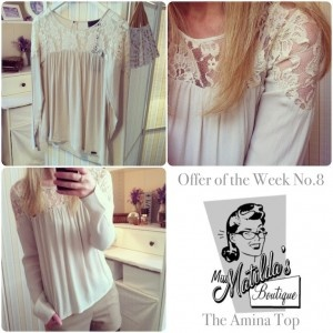 Gorgeous lace detailing on this dainty and delicate top. We love it. It's so feminine.