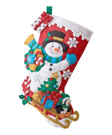 Take a look at this Snowman & Present Stocking Embroidery Kit by Bucilla on #zulily today!