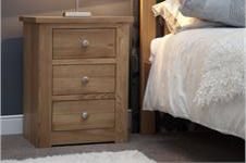 Torino 3 Drawer Narrow Bedside Cabinet