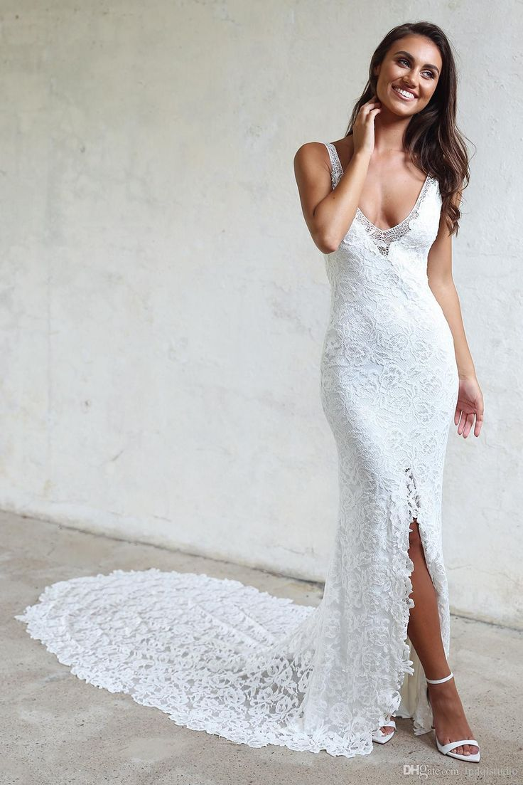 Sexy Mermaid Lace Wedding Dresses Deep V-Neck Backless Sweep Train Floral Lace Bridal Gowns Side Split Long Cheap Wedding Dress Wedding Dresses Mermaid Wedding Dresses Online with $159.0/Piece on Lpdqlstudio's Store | DHgate.com