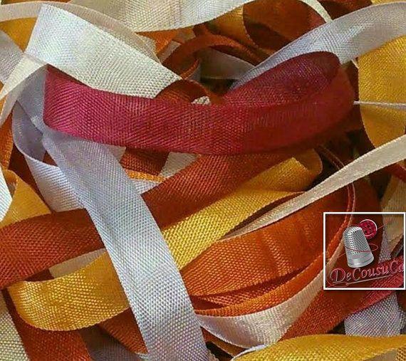 14 verges, Ruban de rayonne, 12mm, choix de couleur, blanc, or, citrouille, rose bébé, lilas, brique, rubis