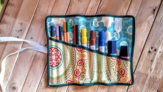 Owls,Pencil Roll Up Pencil Case, Pencil Roll, Pen Roll, colored pencil case, pencil organizer , Organizer pencils cosmetics and makeup