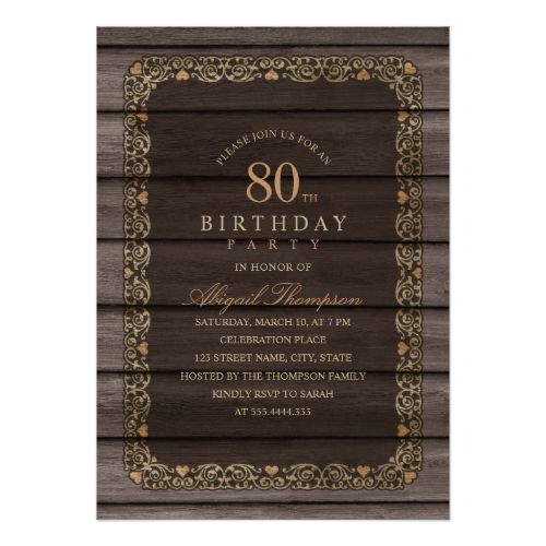 80th Birthday Rustic Wood Fancy Country Party Invitation Rustic