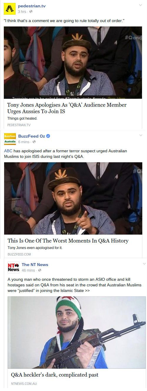 No, An Audience Member DIDN'T Urge Australian Muslims To Join ISIS On 'Q&A'   Junkee