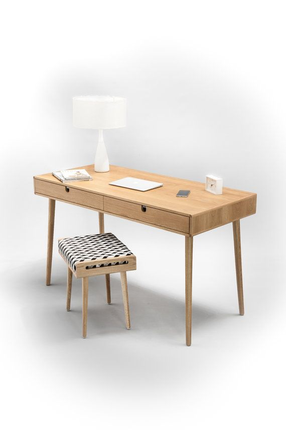Solid Oak board desk Measurements: - 98,5 cm wide x 50 cm deep x 75 cm high (38,7 wide x 19,6  deep x 29,5 high) - Drawers 47 cm wide x 49 cm deep x 9 cm high (18,5 wide x 19,3  deep x 3,5 high)  - 25 Kilograms / 55 Pounds Weight We need 2-3 weeks to manufacture