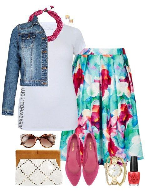 Plus Size Floral Skirt Outfit - Plus Size Fashion for Women - alexawebb.com #alexawebb