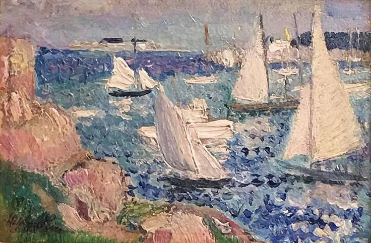 Marblehead. 1919. Harry Lever was a prolific painter known for his boat scenes around Marblehead, his scenes of St. Ives, Cornwall and his scenes of the Hudson from upper Manhattan. At his best, he paints vivid, colorful, impressionist scenes of boats and harbors. Born in Australia, he studied in London, the Academie Julien and the Art Students League. He painted with Ernest Lawson in St. Ives before immigrating to America in 1912.