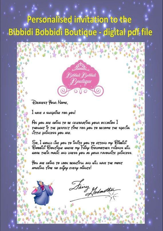 Personalised Invitation To The Bibbidi Bobbidi Boutique From The