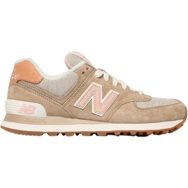NEW BALANCE 574 Suede & Nylon Canvas Sneakers found on Polyvore featuring shoes, sneakers, plimsoll sneaker, new balance shoes, nylon shoes, new balance footwear and rubber sole shoes