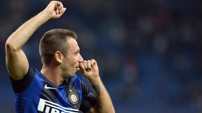 Antonio #Cassano (FC Internazionale Milano)  Antonio Cassano of FC Internazionale Milano celebrates after scoring their second goal during the Italian Serie A match against AFC Internazionale Milano
