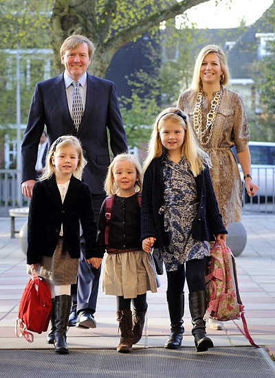 King Willem Alexander, queen Maxima and their family - first school day Ariane