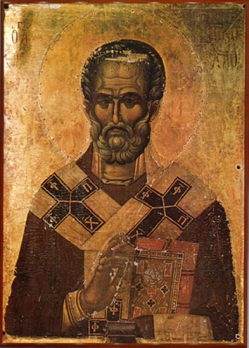 Св. Николай, икона от манастира Хилендар в Св. Гора от ср. 14 век. Източник: stnicholascenter.org.