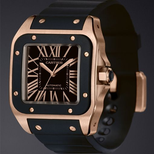 Cartier Santos 100 XL Rose Gold With Rubber Strap Watch Available On James List