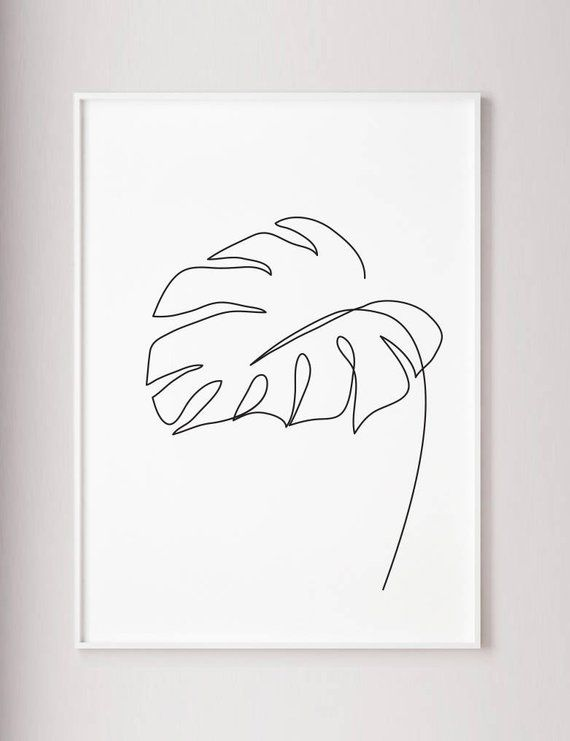 Monstera leaf print, Monstera one line drawing wall art, Wabi sabi Minimalist modern wall decor, Abstract Botanic poster, black and white