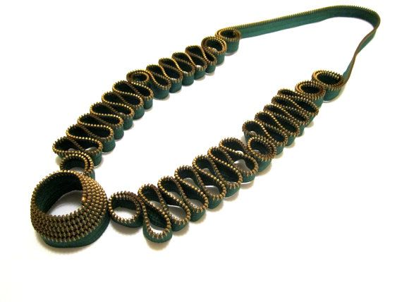 Forever Green zipper necklace by catrinel777 on Etsy, $165.00