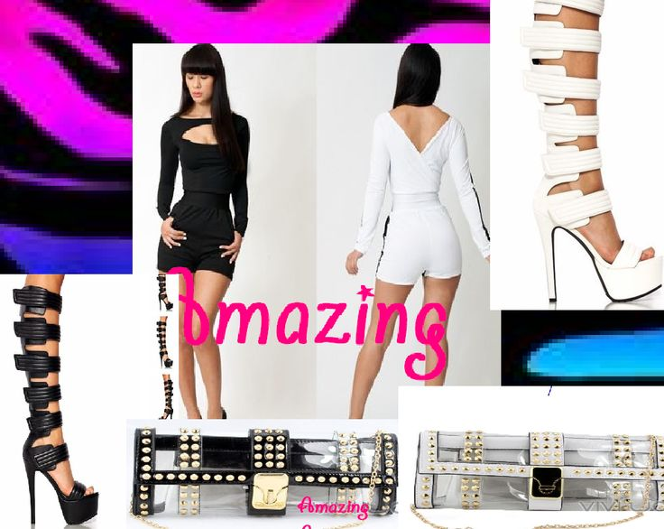vestito short e stivali estivi con pochette trasparente e borchie bianco o nero  https://www.facebook.com/pages/Amazing-SHOP-abbigliamento-scarpe-accessori/378956502238895