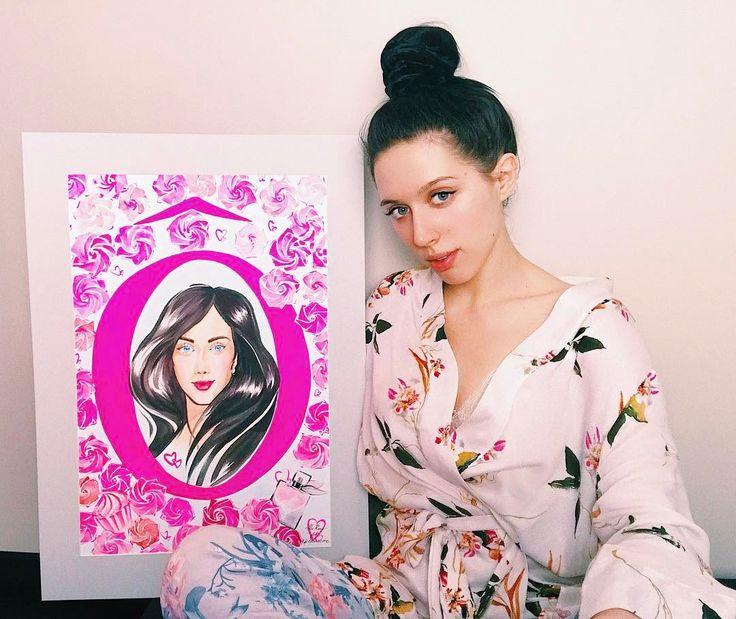Домашняя я и портрет меня от @lancomeofficial 🌸🎀 Спасибо за чудесные подарки! Покажу их завтра в сторис! 💕