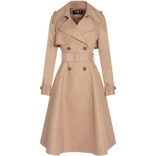 Trench coat in cotton (7,170 MXN) ❤ liked on Polyvore featuring outerwear, coats, beige coat, cotton coat, beige trench coat, trench coats and cotton trench coat